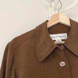 VINTAGE 100% Silk Brown Long Pocket Front Jacket